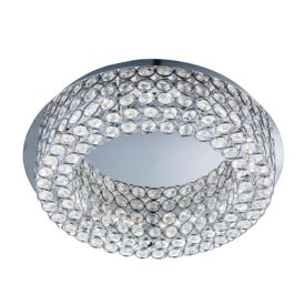 Vesta Round Chrome 54 Led Ceiling Flush Light With Crystal Buttons