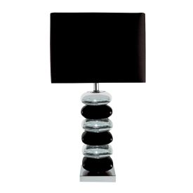 Black & Chrome Pillow Stack Table Lamp With Black Shade