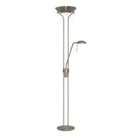 Satin Silver Mother And Child Floor Lamp With Double Dimmer
