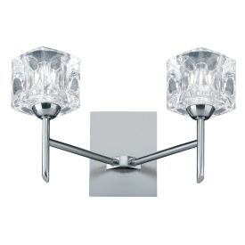 Led Ice Cube - 2 Light Wall Bracket, Clear Glass, Satin Silver