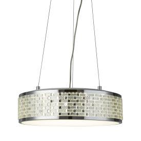 Led 8 Light Round Ceiling Pendant, Chrome, Acrylic Tile Effect Trim