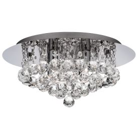 Ip44 Hanna Chrome 4 Light Semi-flush Fitting With Clear Crystal Balls