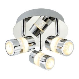 Bubbles Ip44 Chrome 3 Led Ceiling Spotlight Acrylic Bubbles. Bathroom Use.