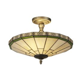 New York Antique Brass 2 Light Semi-flush Fitting, Amber Tiffany Glass