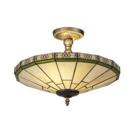 New York Antique Brass 2 Light Semi-flush Fitting, Amber Tiffany Glass