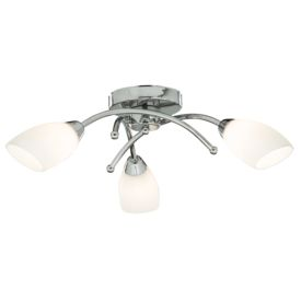 Led Ip44 Chrome 3 Light Ceiling Fitting, White Glass Shades