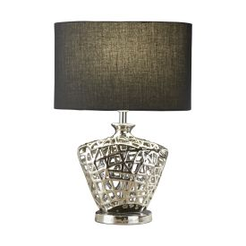 Chrome Cut Out Decorative Base With Black Oval Drum Shade