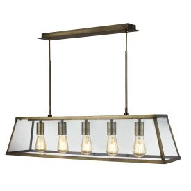 Voyager Antique Brass 5 Light Lantern Bar Light With Clear Glass Panels