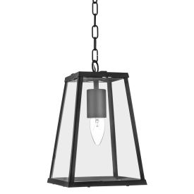 Voyager Matt Black Tapered Bar Lantern With Clear Glass Panels