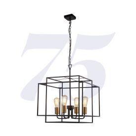 Crate 4lt Black Frame Pendant With Bronze Lampholders