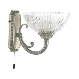 Windsor Ii Antique Brass Wall Light With Clear Ribbed Glass Shade