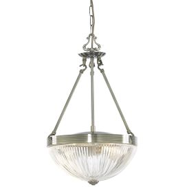 Windsor Ii Antique Brass 2 Light Fitting With Clear Ribbed Glass Shades