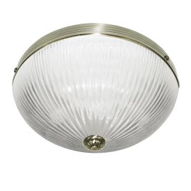 Windsor Ii Antique Brass Flush Light With Clear Ribbed Glass Shade