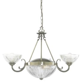 Windsor Ii Antique Brass 5 Light Fitting With Clear Ribbed Glass Shades