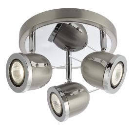 Palmer Satin Silver 3 Light Round Spotlight With Chrome Trim