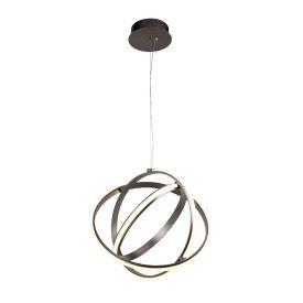 Led 3 Chrome Rings Gyro Pendant, Adjustable Design