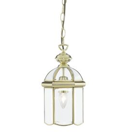 Polished Brass Lantern With Bevelled Domed Glass Panels