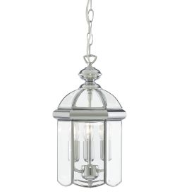 Chrome 3 Light Lantern With Polished Bevelled Domed Glass Panels