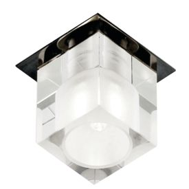 Chrome Ceiling Recessed Downlighter With Square Opal Glass