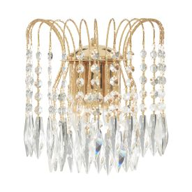 Waterfall Gold 2 Light Wall Bracket With Crystal Buttons & Drops