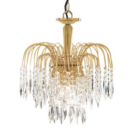 Waterfall Gold 3 Light Fitting With Crystal Buttons & Drops