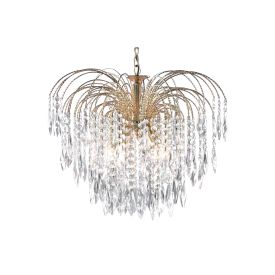 Waterfall Gold 5 Light Pendant Fitting With Crystal Buttons & Drops