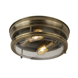 2lt Flush Antique Brass/clear Glass Ip44