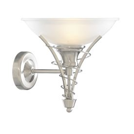 Linea Satin Silver Wall Light With Twist Centre & Dome Opal Glass