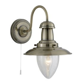 Fisherman Antique Brass Wall Light With Oval Seeded Glass Shade