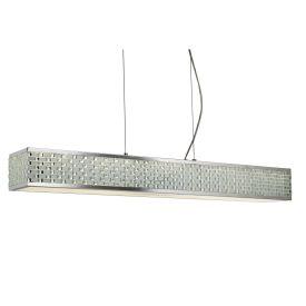 Chrome, Led 10 Light Ceiling Rectangle Pendant, Tile Effect Trim