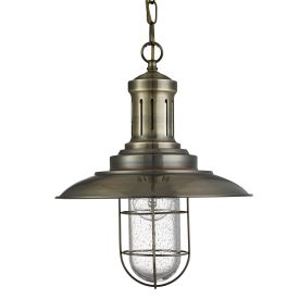 Fisherman Antique Brass Pendant Light With Caged Shade
