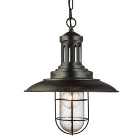 Fisherman Black Gold Pendant Light With Caged Shade