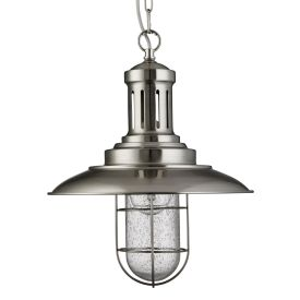 Fisherman Satin Silver Pendant Light With Caged Shade, Seeded Glass