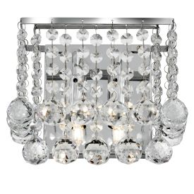 Hanna Chrome 2 Light Square Wall Bracket With Clear Crystal Balls