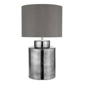 Artisan 1lt Chrome Table Lamp, Grey Shade