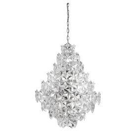 11 Light Ceiling Pendant, Clear Acrylic Detail Trim, Chrome