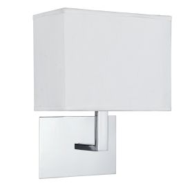 Chrome Wall Light With White Rectangular Fabric Shade, Black Switch
