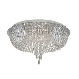 Orion Chrome 10 Light Flush Fitting With Cascading Crystal Trimmings
