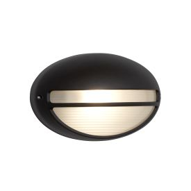 Die Cast Aluminium Black Ip44 Oval Outdoor Light With Ridged Opal Glass Wb/flush