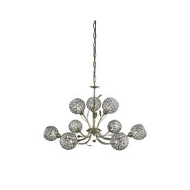 Bellis Ii Antique Brass 9 Light Fitting With Clear Metal Glass Shades