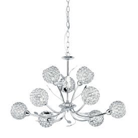 Bellis Ii Chrome 9 Light Fitting With Clear Metal Glass Shades