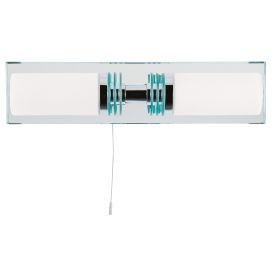 Ip44 Chrome 2 Light Wall Bracket With Mirror Bathroom Backplate
