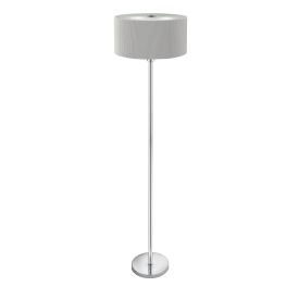 Chrome 3 Light Floor Lamp With Drum Pleat Silver Shade