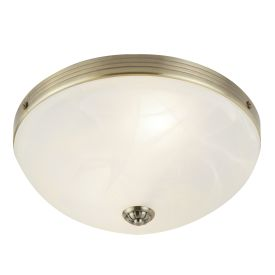 Windsor, Antique Brass 2 Light Flush Fitting With Marbled Glass Diffuser