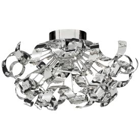Curls Chrome 12 Light Ceiling Flush Fitting Lined With Crystal Beads