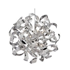 Curls Chrome 6 Light Pendant Fitting Lined With Crystal Beads