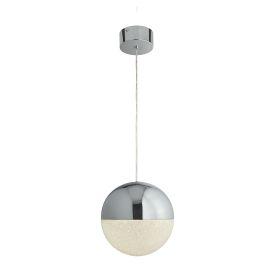 Marbles 1lt Led Globe Pendant, Crushed Ice Effect Shade, Chrome, 25cm