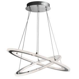 Solexa Led Hoop Chrome Pendant, White Frosted Acrylic Rings, Adjustable