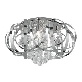 Tilly Chrome 3 Light Flush Fitting, Inter-twining Strips, Clear Crystal Balls