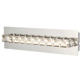 Clover Led Chrome Metal Wall Bracket, Clear Crystal Decoration